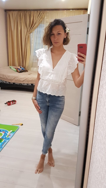 Elegant V Neck Hollow Out Peplum Blouse Shirt Women Ruffles Embroidery White Blouse Top Female Elastic Waist Cotton Tops photo review