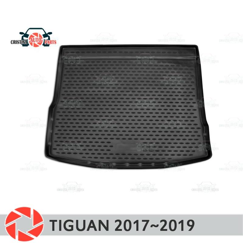 Alfombrilla de maletero para volkaserrgen Tiguan 2017 ~ 2019 alfombras de suelo de maletero antideslizantes de poliuretano protección de suciedad interior de maletero de coche estilo