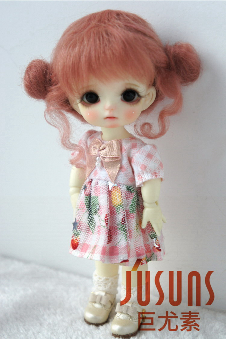 JD406 1/8 5-6 дюймов, парик для куклы BJD, кукольный парик, прекрасные мохеровые парики, Детские два пони, парик для маленькой куклы - Цвет: Dark pink