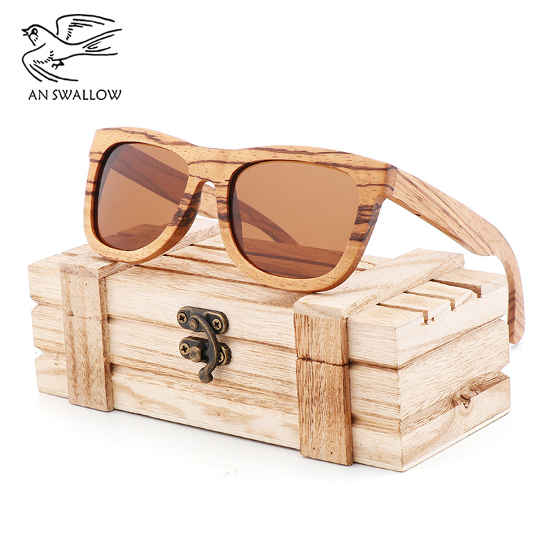 100% Genuine Zebra Wood Sunglasses Polarized Handmade Bamboo Men's Retro Sunglasses Tea Ms. Gafas Oculos De Sol Madera
