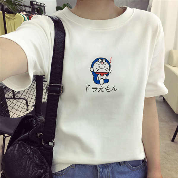 b466718c ... ECTTCT 2019 Harajuku T Shirt Women Doraemon Kawaii Summer Tops Letter  Print Sleeve Couple T Shirt