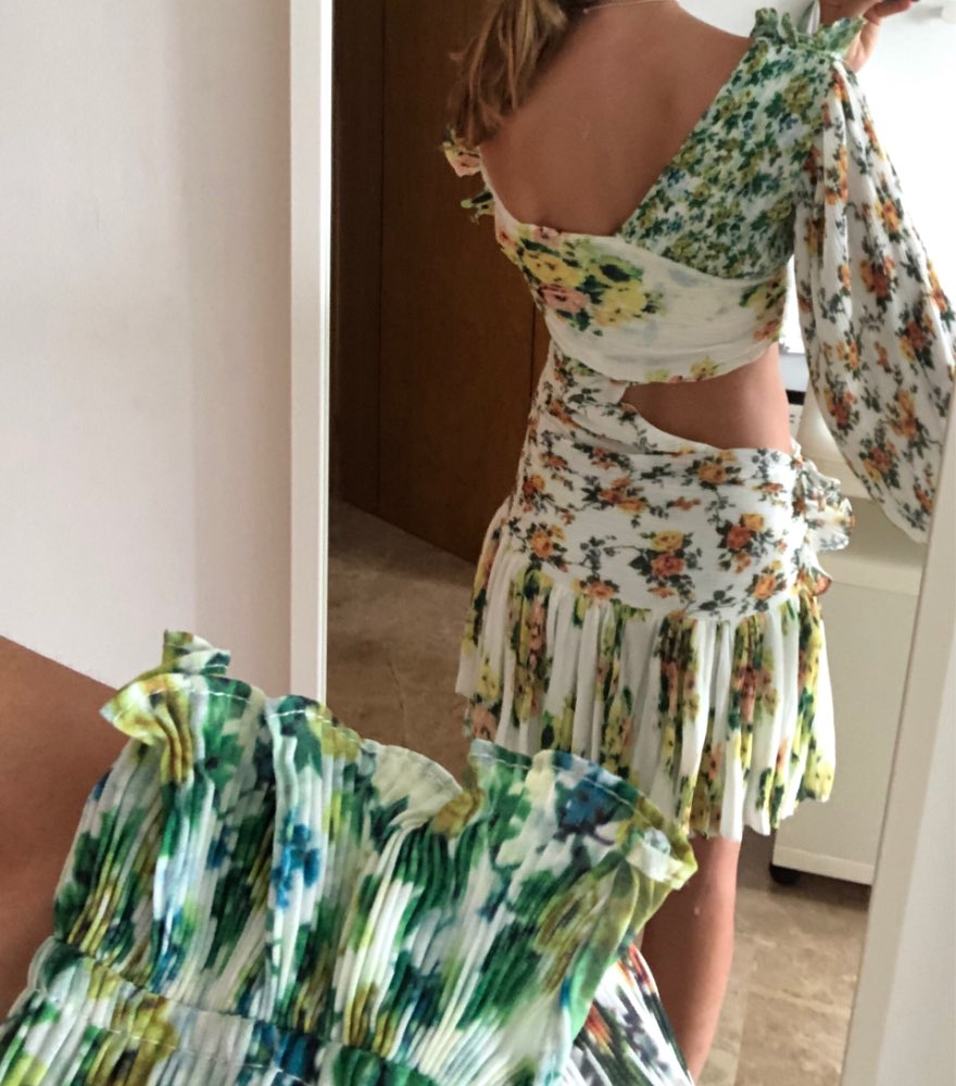 Print Dresses Female Off Shoulder Lantern Long Sleeve Hollow Out Irregular Mini Dress For Women Casual Autumn photo review