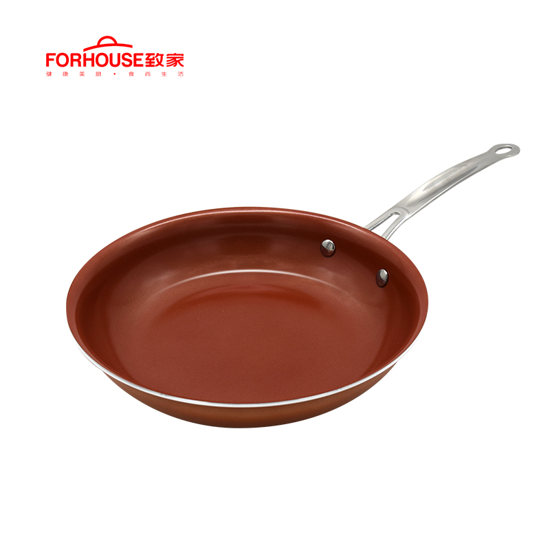10 Inch Non-stick Copper Frying Pan Ceramic Coating Aluminum Pots Baking Cooking Cake Pans for Induction Pan Cooker Wok