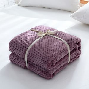 Image 2 - Japan Style Flannel Blanket Solid Plain Coral Fleece Mink Throw Thick Breathable Soft Warm Plaid Spring Summer Quilt Blankets
