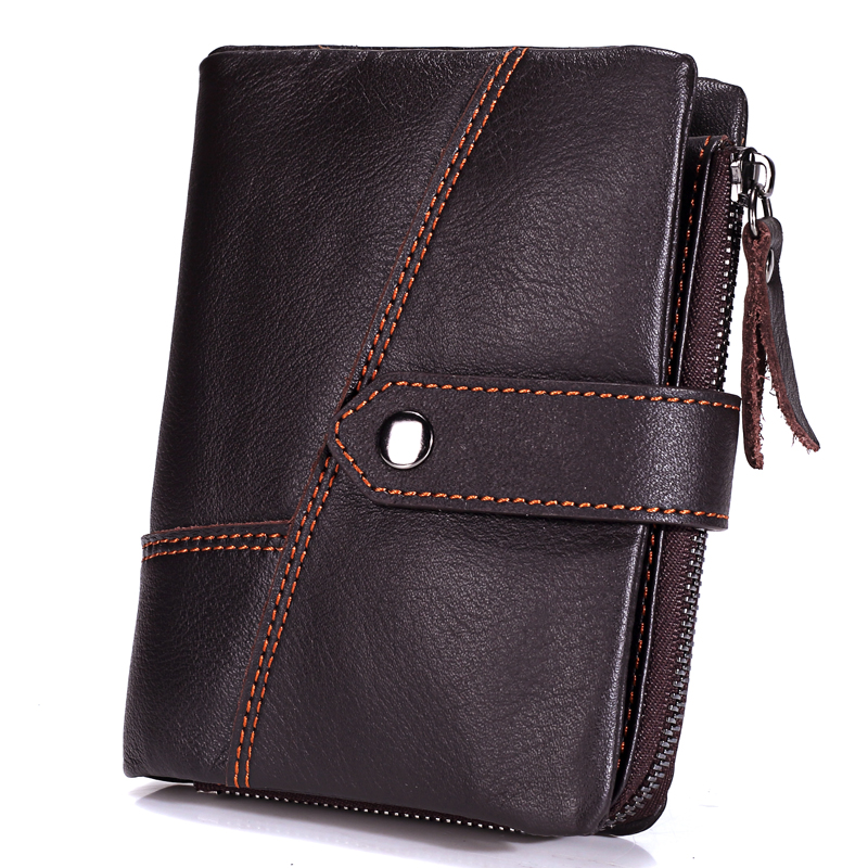 MISFITS Genuine Leather Wallets Men Wallets Clutch Fashion Short Coin Purse Vintage Wallet Cowhide Leather Card Holder Coin Bag
