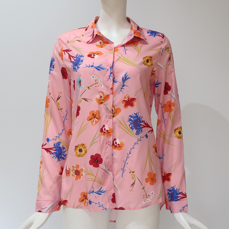 Women Blouses Fashion Long Sleeve Turn Down Collar Office Shirt Leisure Blouse Shirt Casual Tops 87