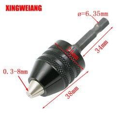 Bohren Futter Clip 6,35mm Sechskantschaft Spannbereich 0,3-8mm Schraubendreher Bohrer Schleifmaschine Konverter