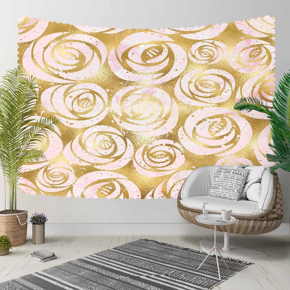Else Golden Yellow Vintage Roses Flower Nordec Retro 3D Print Decorative Hippi Bohemian Wall Hanging Landscape Tapestry Wall Art