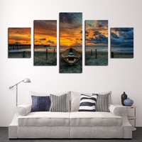 Canvas Home Decor Wall Art Pictures For Living Room Print Poster 5 Pieces Beach Sunset Seaview