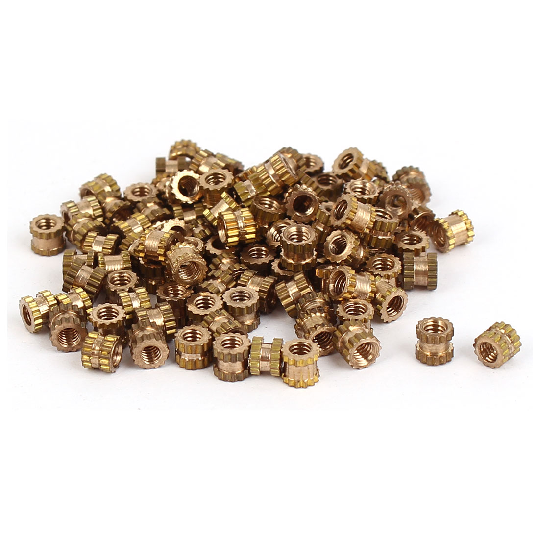 UXCELL 100Pcs/lot <font><b>M2x3mm</b></font> Pitch 0.4mm Brass Cylinder Knurled Threaded Round Insert Embedded Nuts image
