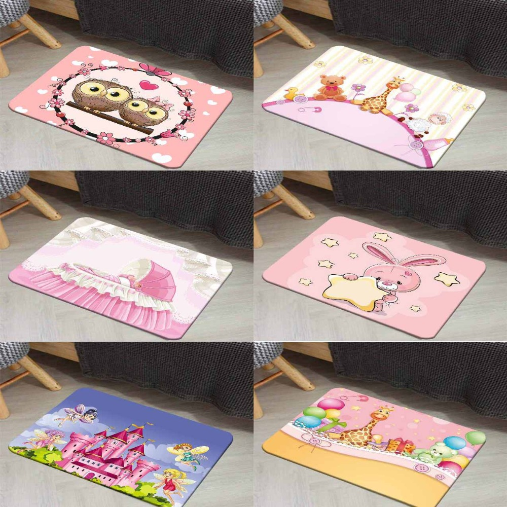 Else Pink Owls Animal Castle Bear Lamp 3d Digital Print Modern Decorative Floor Door Mat Home Decor Entryway Kids Room 50x80cm