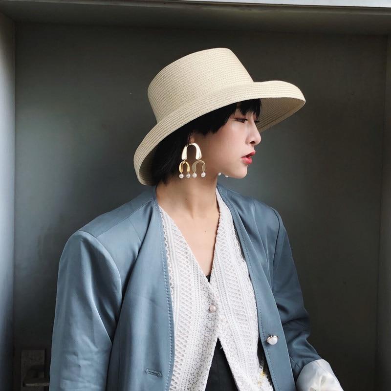 714ef03809 [La MaxPa] Beach Hat Vintage Wide Brim Straw Hat 2018 New Summer Fashion  Lady
