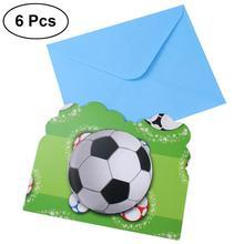 6 шт. футбольные спортивные пригласительные карточки для детей, вечерние украшения для мальчиков