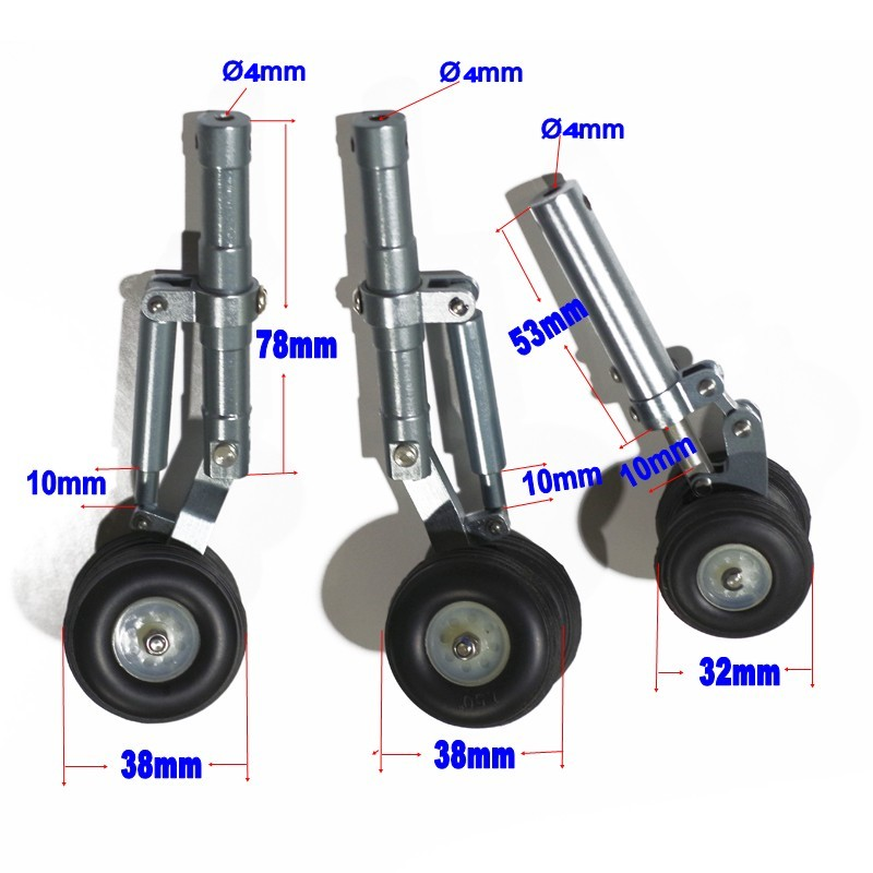 Alloy Undercarriage CNC Metal retractable shock absorption landing gear set 32mm 38mm PU wheel for RC