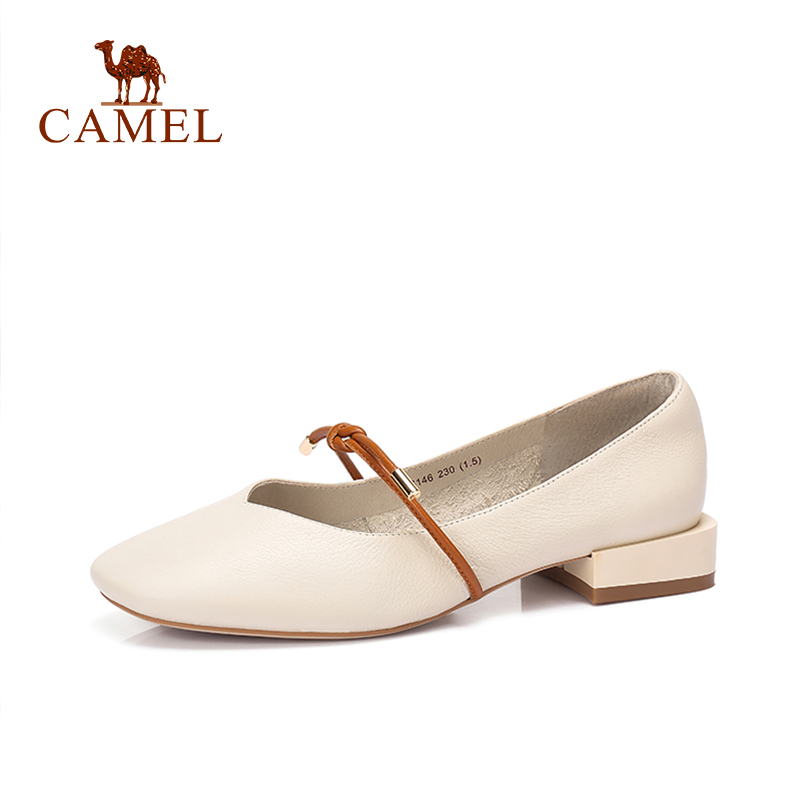 CAMEL New Women Fashion Simple Retro Single Shoes Women Genuine Leather Low Heel Dress Shoes For
