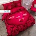 Набор постельного белья из хлопка и сатина с 3D принтом в виде красных роз и сердечек  6 шт.