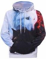Hot Sale Brand Wolf Printed Hoodies Men 3D Sweatshirt Quality Plus Size Pullover Novelty 2XL Streetwear