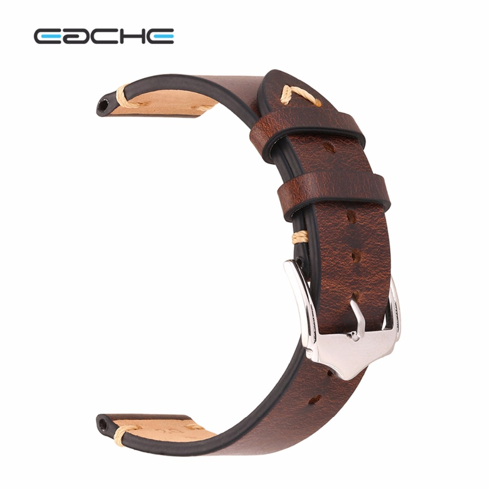 EACHE Wholesale Retail 20mm 22mm Crazy Horse Handmade Genuie Leather Watch band Straps Different Colors & Size eache 20mm 22mm 24mm 26mm genuine leather watch band crazy horse leather strap for p watch hand made with black buckles