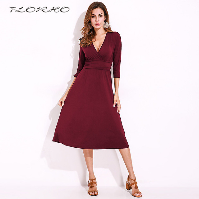 5efc2c503c1 Womens Elegant Ruched Dress Vintage Sexy Deep V Neck Casual Evening Wear  Work Office Business Party Midi Swing Dress Plus Size