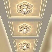 LED światła do przejścia w kształcie kwiatu kryształowe reflektory downlights wbudowany sufit kreatywny korytarz salon sypialnia