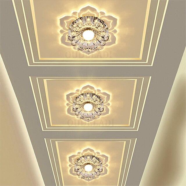 Led Gangpad Lichten Bloem Vormige Crystal Spots Downlighters Ingebed Plafond Creatieve Gang Woonkamer Slaapkamer