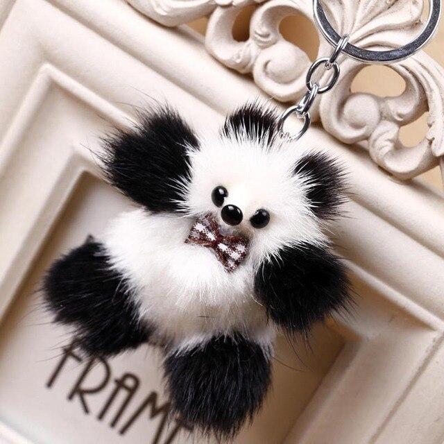 Chaveiros de pele Pom Pom Keychian Carro Plush Fluffy Animal Panda Chave Anéis Da Cadeia Para O Saco Do Telefone Encantos Pingente Brinquedos