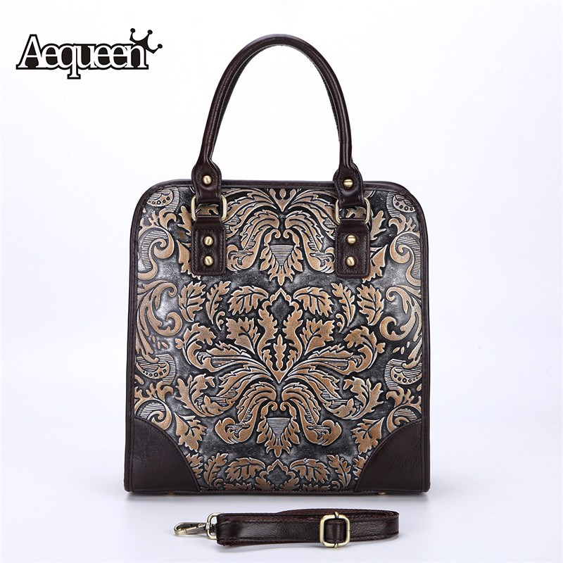 AEQUEEN 2018 New Women Handbags Embossed Process Messenger Bags Genuine Leather Crossbody Bag For Ladies Totes