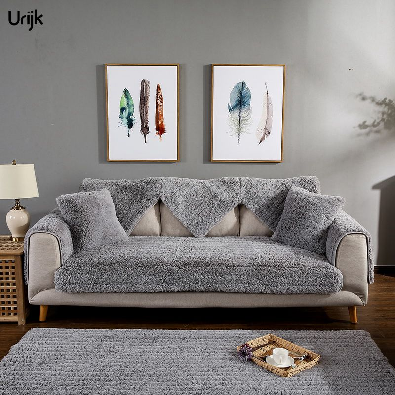 Urijk 1PC Winter Warm Sofa Cover Slipcover Plush Furniture Covers Sectional Couch Cover Multi Sizes Solid Cubre Sofa Top Quality