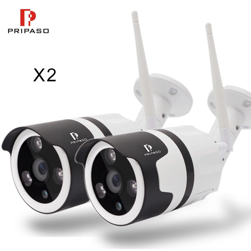 Pripaso IP camera kit 2 pcs 720P 1080P full HD wifi ip camera mini bullet wireless network CCTV camera p2p ONVIF nnight vision