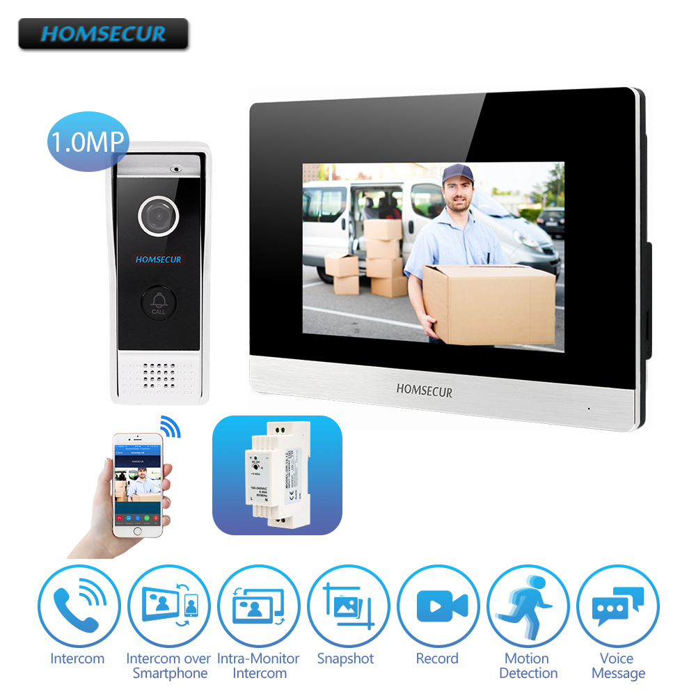 HOMSECUR 7 iOS Android Wired IPRJ 45 Video Audio Smart Doorbell 1 0MP with Touch Screen