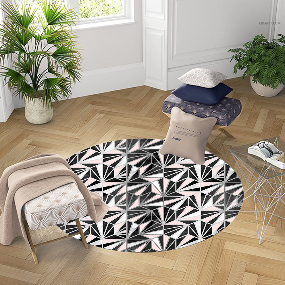 Else Black Pink White Triangles Geometric Lines 3d Pattern Print Anti Slip Back Round Carpets Area Rug For Living Rooms Bathroom