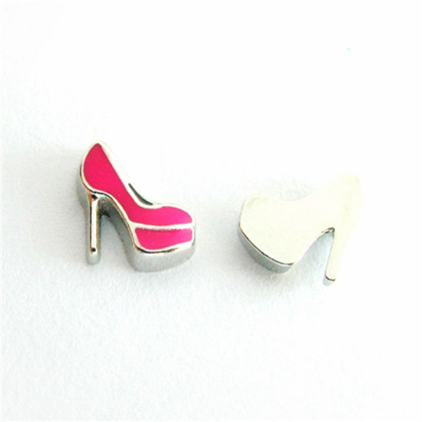 20PCS Hot Pink High Heels Alloy Floating Charms Fit Glass Locket Charms DIY Jewelry Accessories