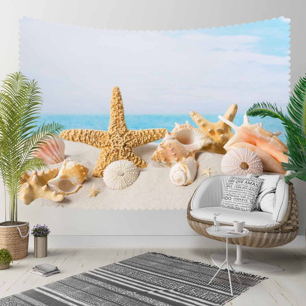 Else Blue Sky Tropical Beach Sand Sea Stars Shells 3D Print Decorative Hippi Bohemian Wall Hanging Landscape Tapestry Wall Art