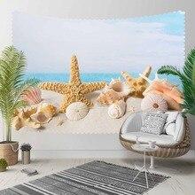 Else Blue Sky Tropical Beach Sand Sea Stars Shells 3D Print Decorative Hippi Bohemian Wall Hanging Landscape Tapestry Wall Art
