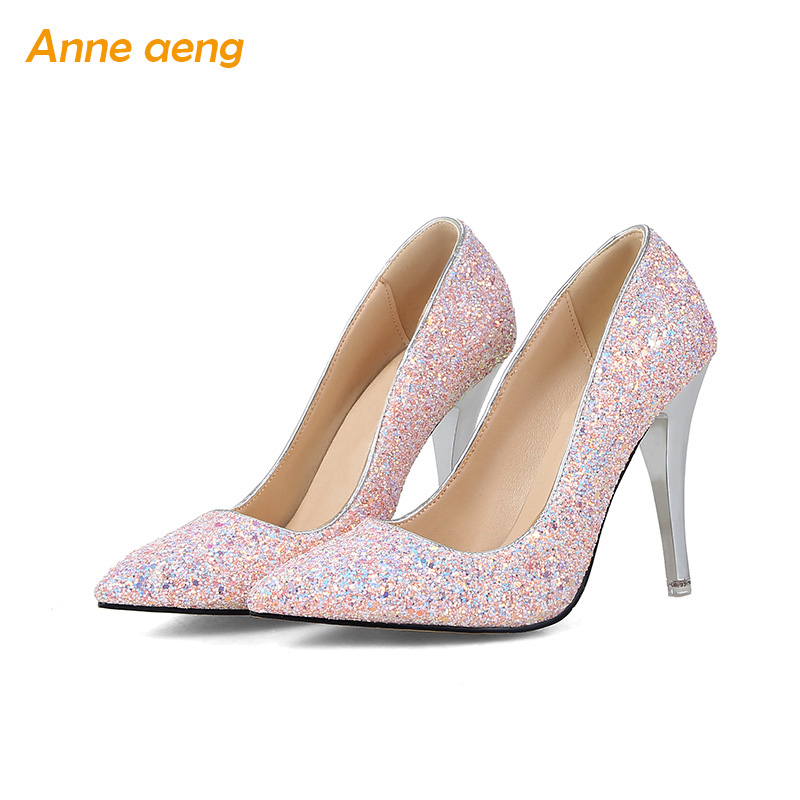 women pumps High thin heel bling Bridal wedding shoes classic pointed toe evening party shoes Black pink women shoes size 34-43 sequined high heel stilettos wedding bridal pumps shoes womens pointed toe 12cm high heel slip on sequins wedding shoes pumps