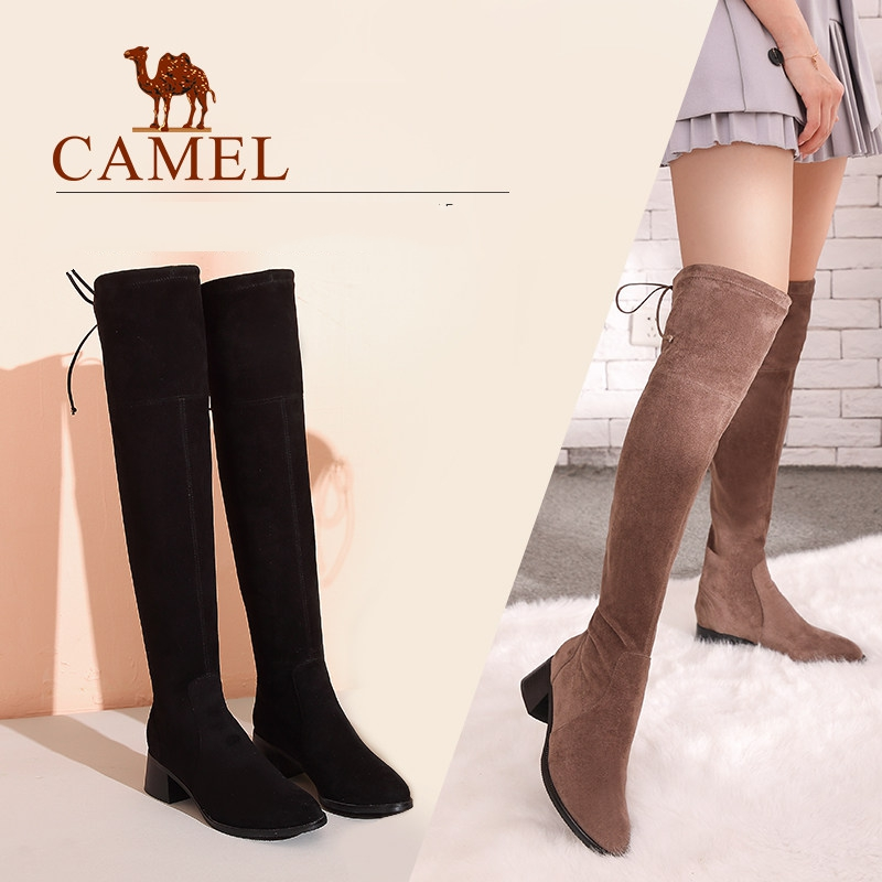 CAMEL Ladies Shoes High Heel Fashion Winter Thigh High Boots Over The Knee Boots Woman Suede Stretch Fabric Boots Shoes Woman women boots low heel knee high boots stretch fabric thigh high over the knee black boot ladies shoes d50