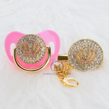 MIYOCAR all BLING pink crown pacifier and clip colorful unique design for baby SGS certificate safe APCB-11