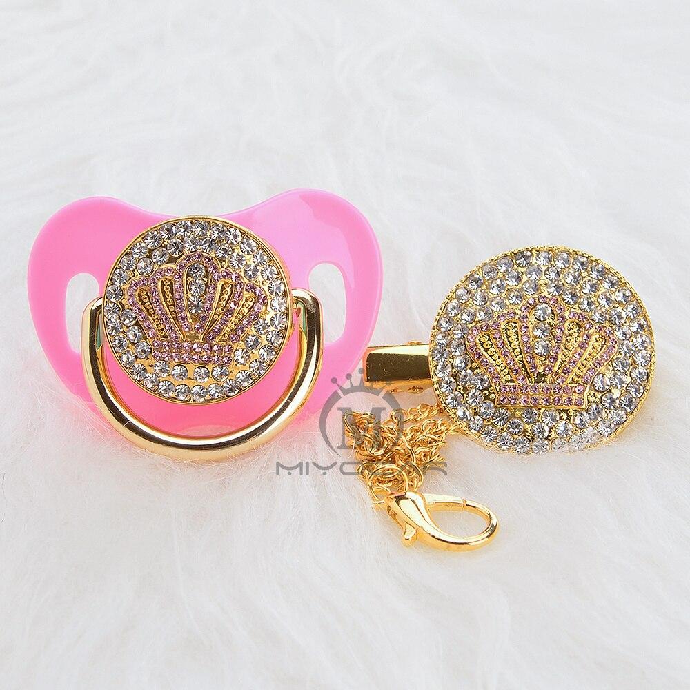 miyocar todos os bling rosa coroa chupeta e chupeta clipe colorido design original para o bebe