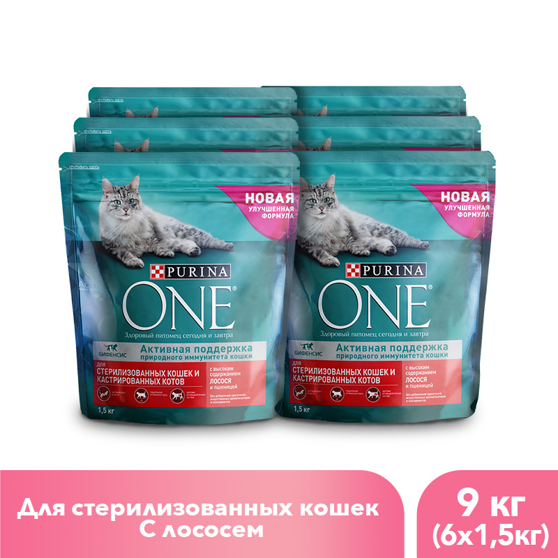 Purina ONE dry food for sterilised cats with salmon and wheat, 9 kg. gorgeous 50cm length golden thick braided wheat chain necklace for men