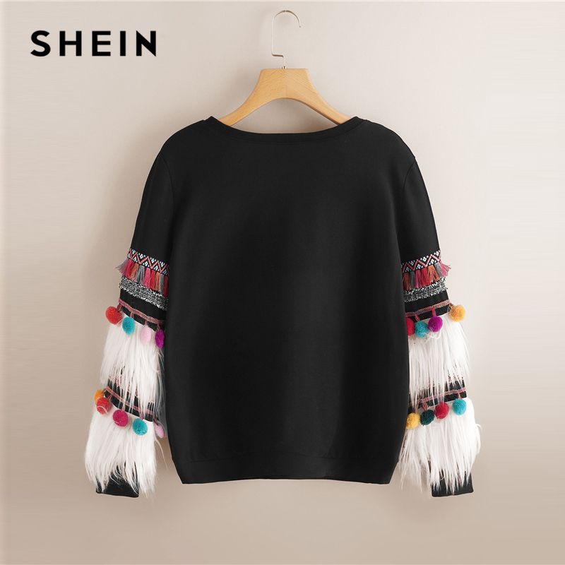 SHEIN noir fausse fourrure frange contraste gland Pom Pom col rond pull automne femmes Streetwear Campus pulls sweat