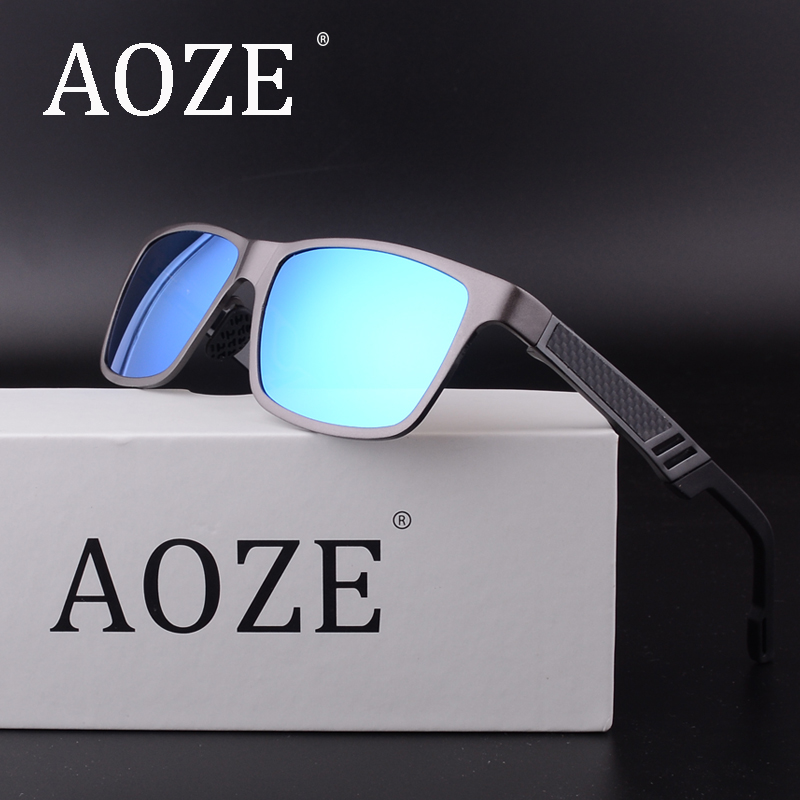 AOZE Brand Men Aluminum Polarized Mens Sunglasses Mirror Sun Glasses Square Goggle Eyewear Accessories For Men Or Women Female