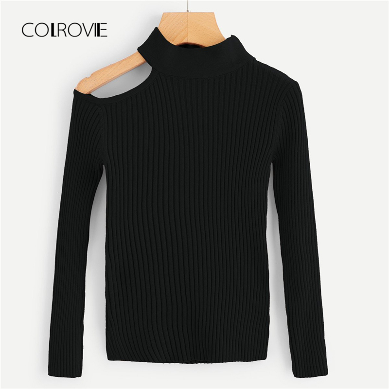 02c6b0b142 Detail Feedback Questions about COLROVIE Black Solid Cut Out Shoulder Slim Knitted  Sweater Ladies Autumn 2018 Girl Pullover Winter Jumper Sweaters Women ...