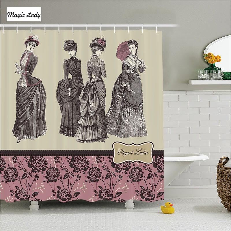 Elegant Bathroom Rose: Fabric Shower Curtain Vintage Bathroom Accessories