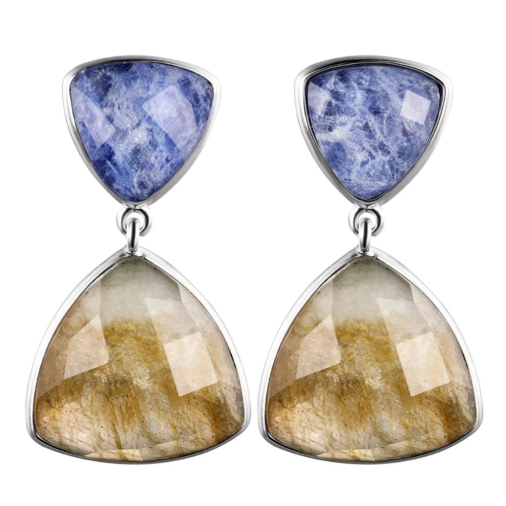 DORMITH real 925 sterling silver earring gemstone earrings natural Labradorite blue Sodalite drop earring for women