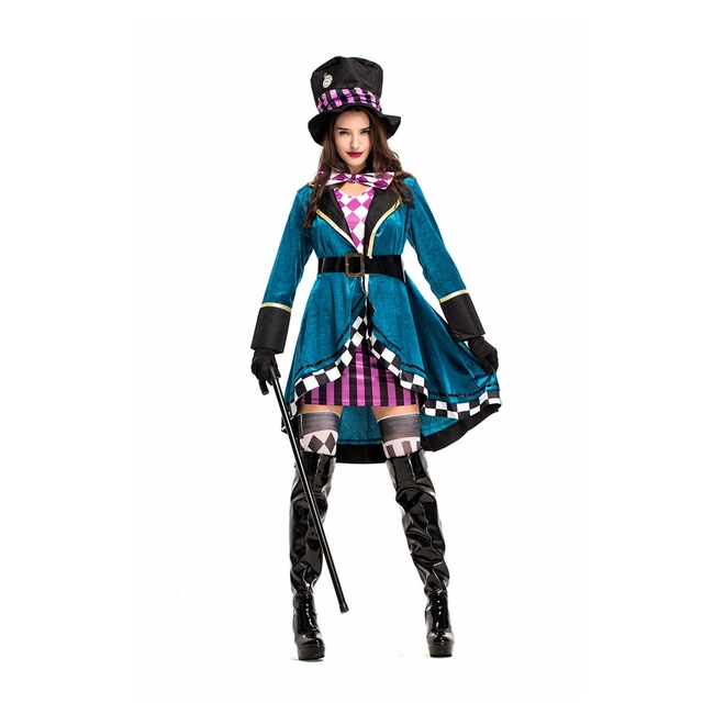 Coslive Alice In Wonderland Mad Hatter Costume Halloween Circus Clown Princess Maid Dress Cosplay Costume Carnival Performance 1