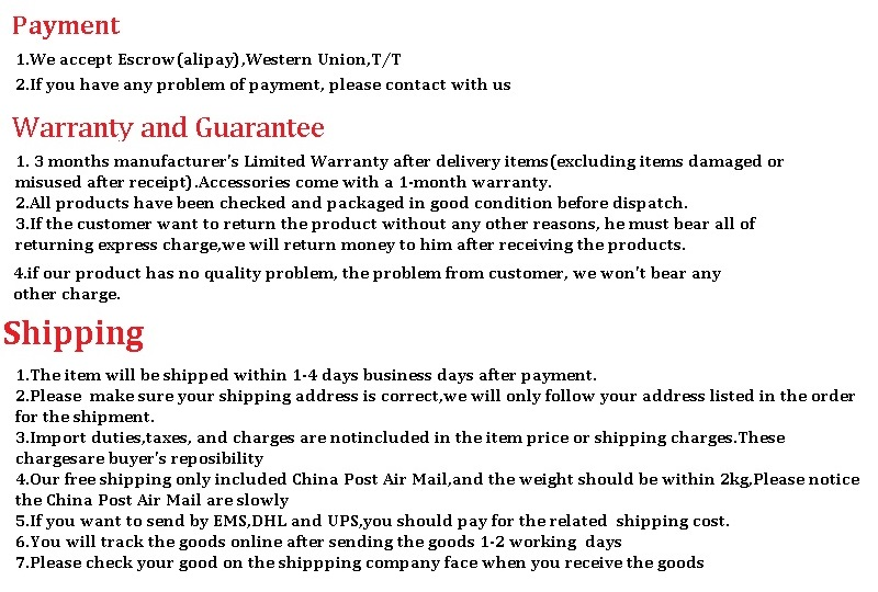 payment items shipment, warranty