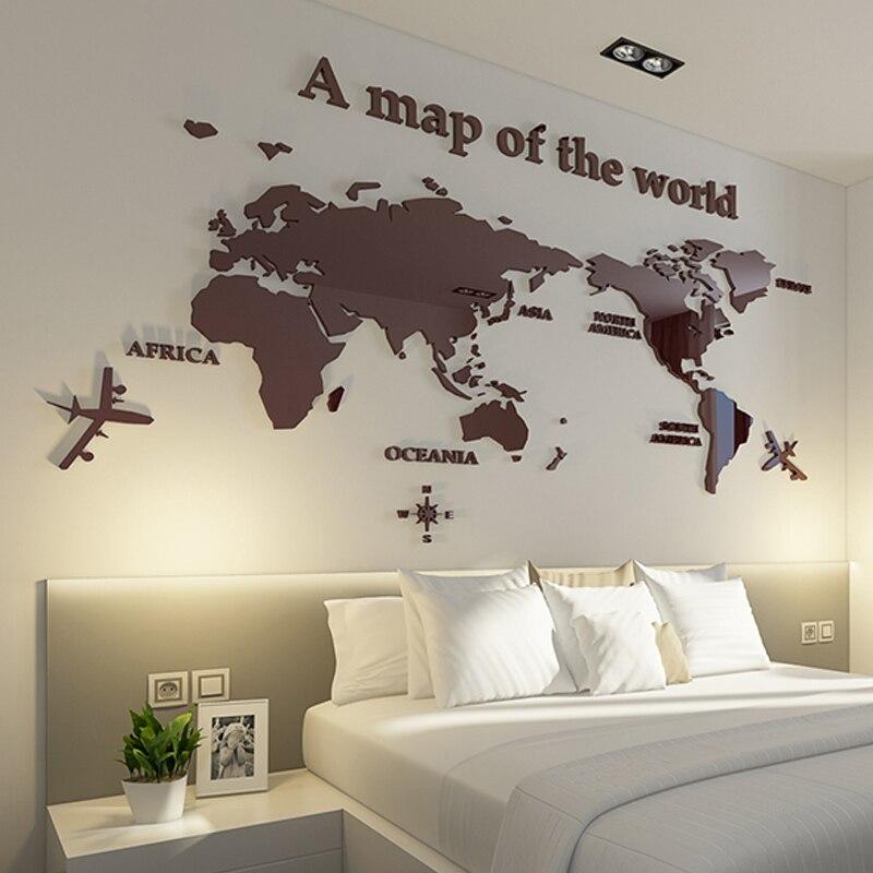 Carte du monde en trois dimensions cristal acrylique stickers muraux bureau salon TV canapé moderne décor à la maison Art 3D Sticker mural décalque