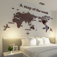 World Map Three dimensional Crystal Acrylic wall stickers office living room TV sofa Modern Home decor Art 3D Wall Sticker Decal