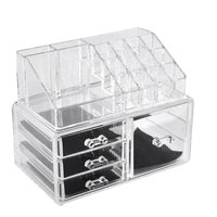 UXCELL Home Acrylic Jewelry Makeup Dressing Case Organizer Display Box Set 2 In 1
