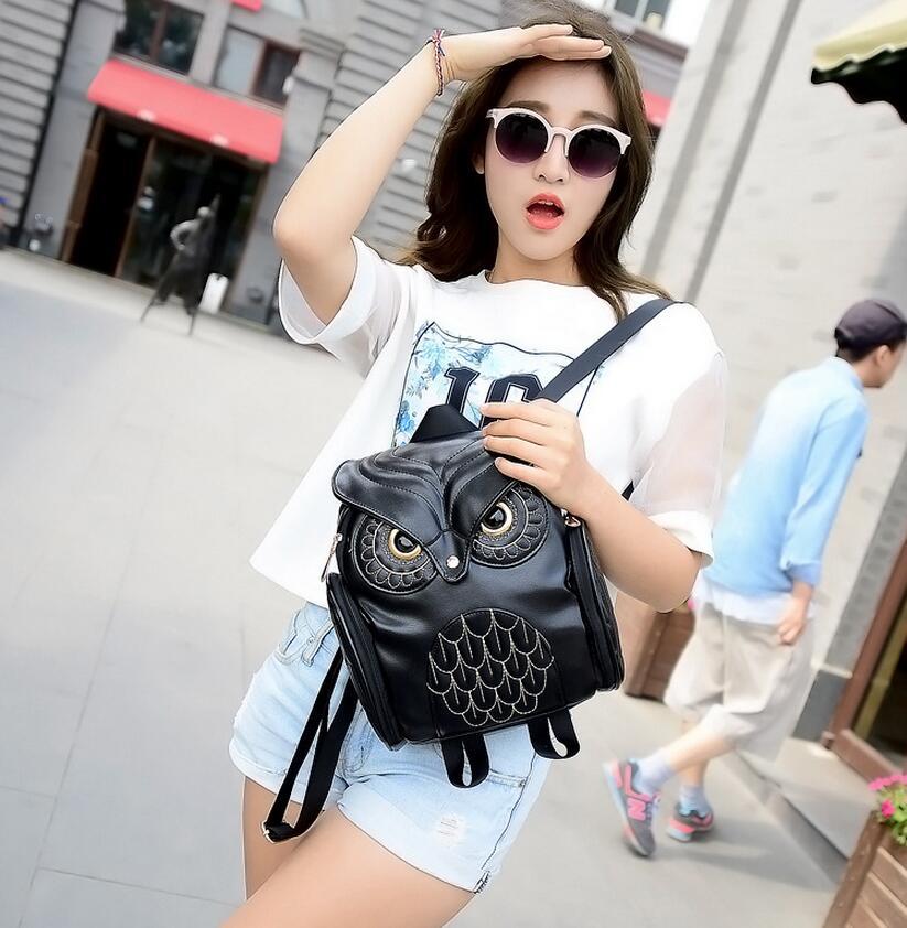 Fashion Women Cute Owl Backpack Newest Stylish PU Leather Female Hot Sale Woman Teenagers School shoulder bag Mochila Feminina